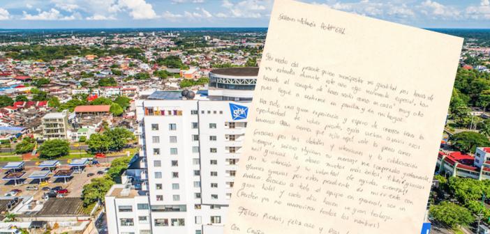 Carta de felicitación de huésped al GHL Grand Villavicencio