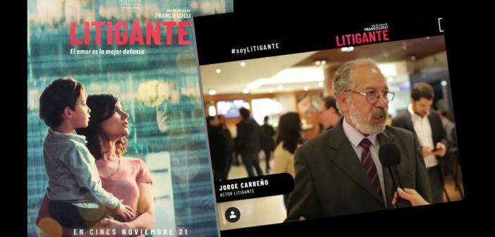 El abogado Jorge Carreño en la película Litigante, una joya del cine colombiano